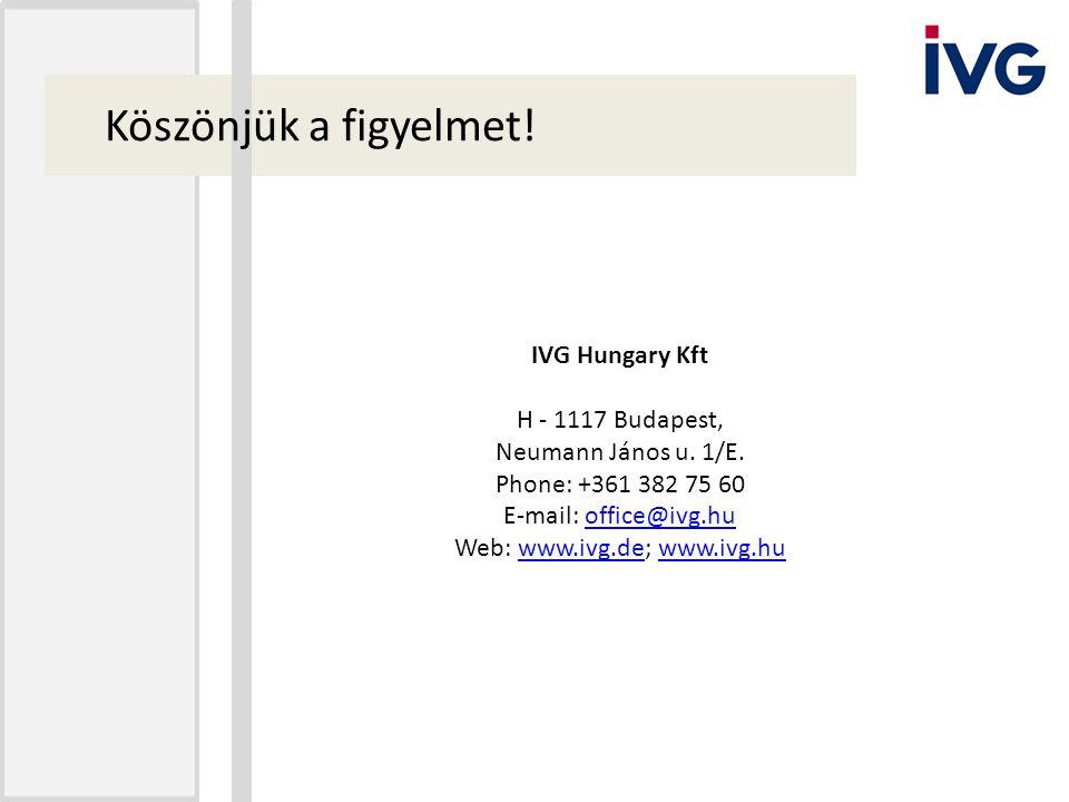 Köszönjük a figyelmet! IVG Hungary Kft H - 1117 Budapest, Neumann János u. 1/E. Phone: +361 382 75 60 E-mail: office@ivg.huoffice@ivg.hu Web: www.ivg.