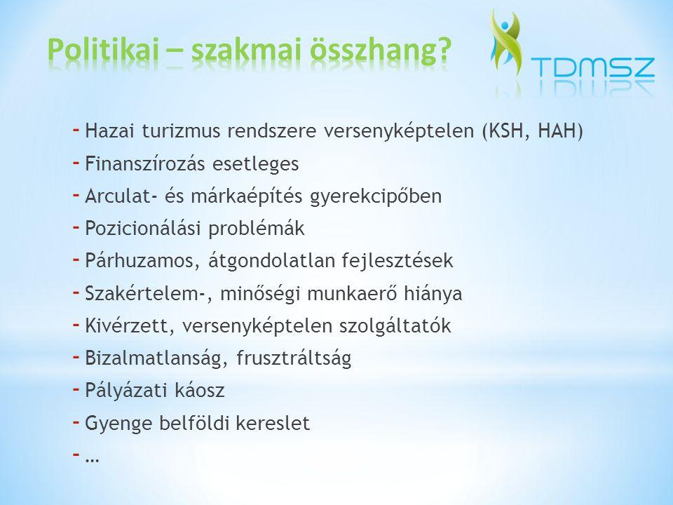 Helyi TDM szervezetek a desztinációs fejlesztésekben Térségi TDMSz – ek az értékesítésben Régiós TDMSz – ek a szervezésben Országosan összehangolt képzés- kutatás- fejlesztés Finanszírozás: - IFA + Tur.