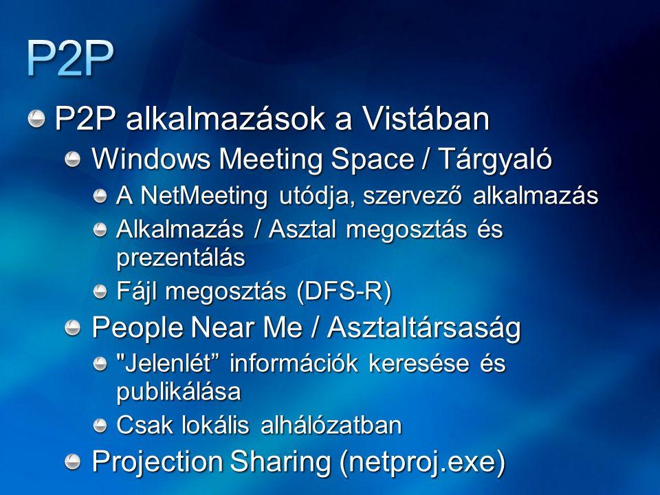 P2P alkalmazások a Vistában Windows Meeting Space / Tárgyaló A NetMeeting utódja, szervező alkalmazás Alkalmazás / Asztal megosztás és prezentálás Fáj