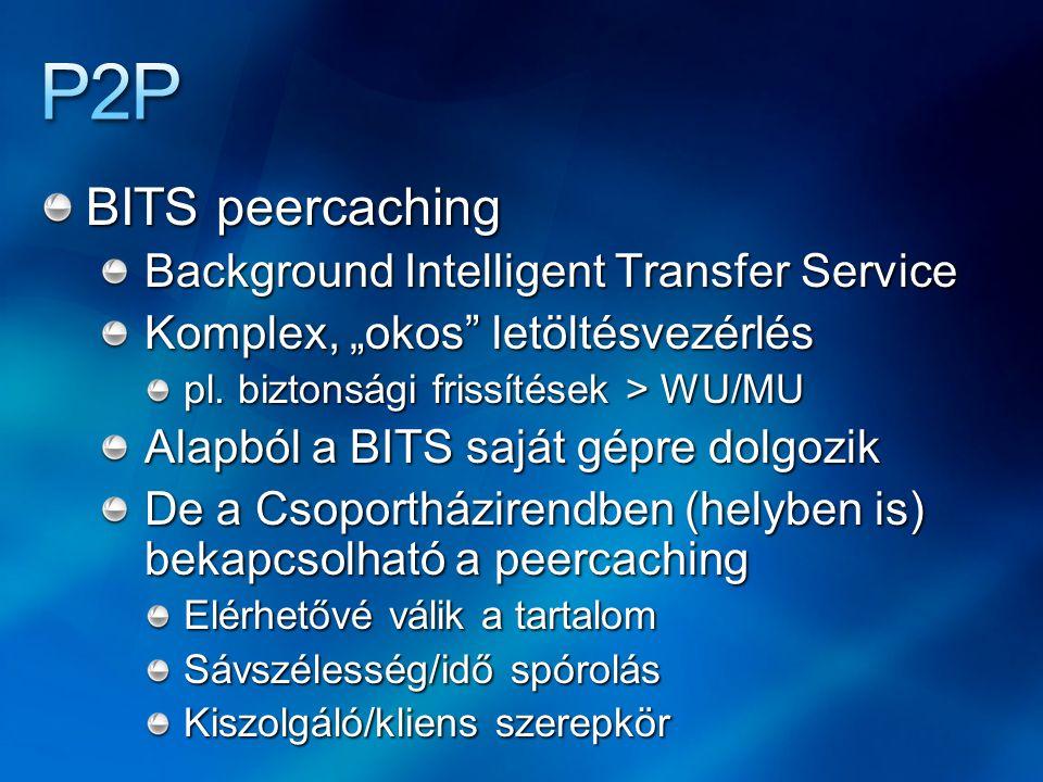 """BITS peercaching Background Intelligent Transfer Service Komplex, """"okos"""" letöltésvezérlés pl. biztonsági frissítések > WU/MU Alapból a BITS saját gépr"""
