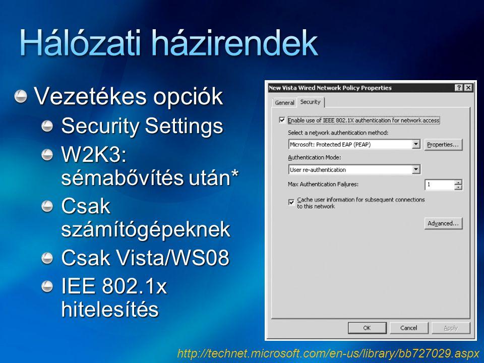 Vezetékes opciók Security Settings W2K3: sémabővítés után* Csak számítógépeknek Csak Vista/WS08 IEE 802.1x hitelesítés http://technet.microsoft.com/en
