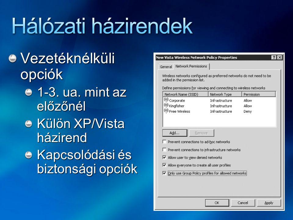 Vezetéknélküli opciók 1-3. ua. mint az előzőnél Külön XP/Vista házirend Kapcsolódási és biztonsági opciók