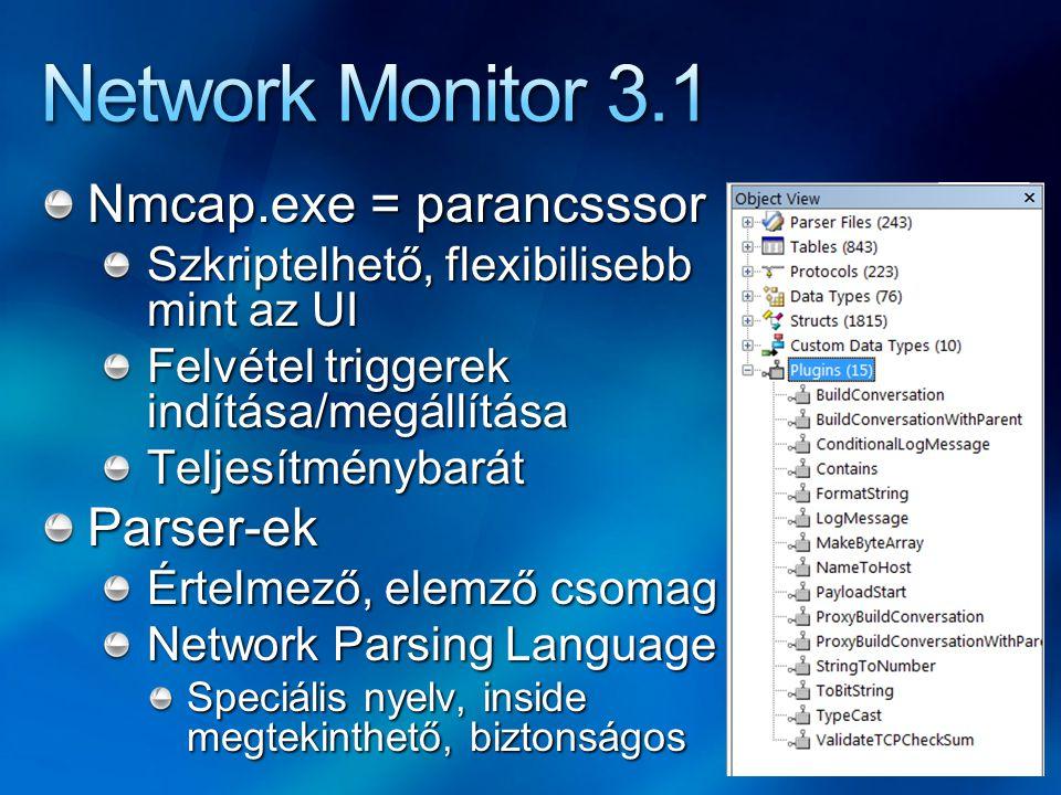 Nmcap.exe = parancsssor Szkriptelhető, flexibilisebb mint az UI Felvétel triggerek indítása/megállítása TeljesítménybarátParser-ek Értelmező, elemző c