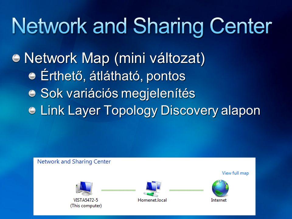 Network Map (mini változat) Érthető, átlátható, pontos Sok variációs megjelenítés Link Layer Topology Discovery alapon
