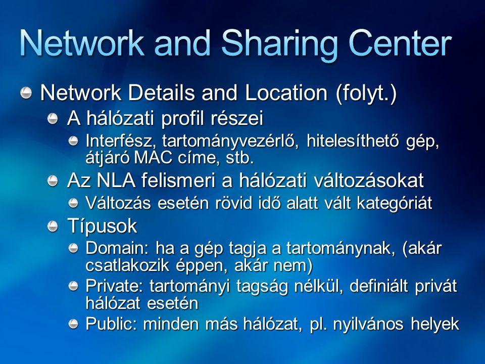 Network Details and Location (folyt.) A hálózati profil részei Interfész, tartományvezérlő, hitelesíthető gép, átjáró MAC címe, stb. Az NLA felismeri