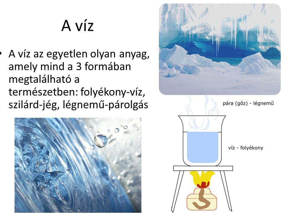 A víz A víz az egyetlen olyan anyag, amely mind a 3 formában megtalálható a természetben: folyékony-víz, szilárd-jég, légnemű-párolgás