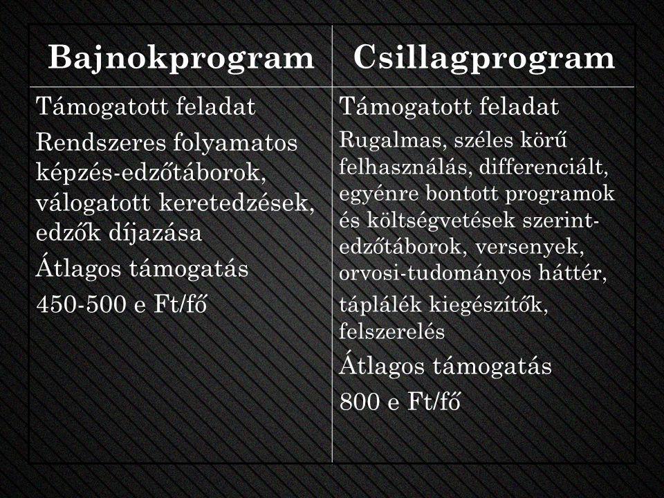 BajnokprogramCsillagprogram Támogatott feladat Rendszeres folyamatos képzés-edzőtáborok, válogatott keretedzések, edzők díjazása Átlagos támogatás 450