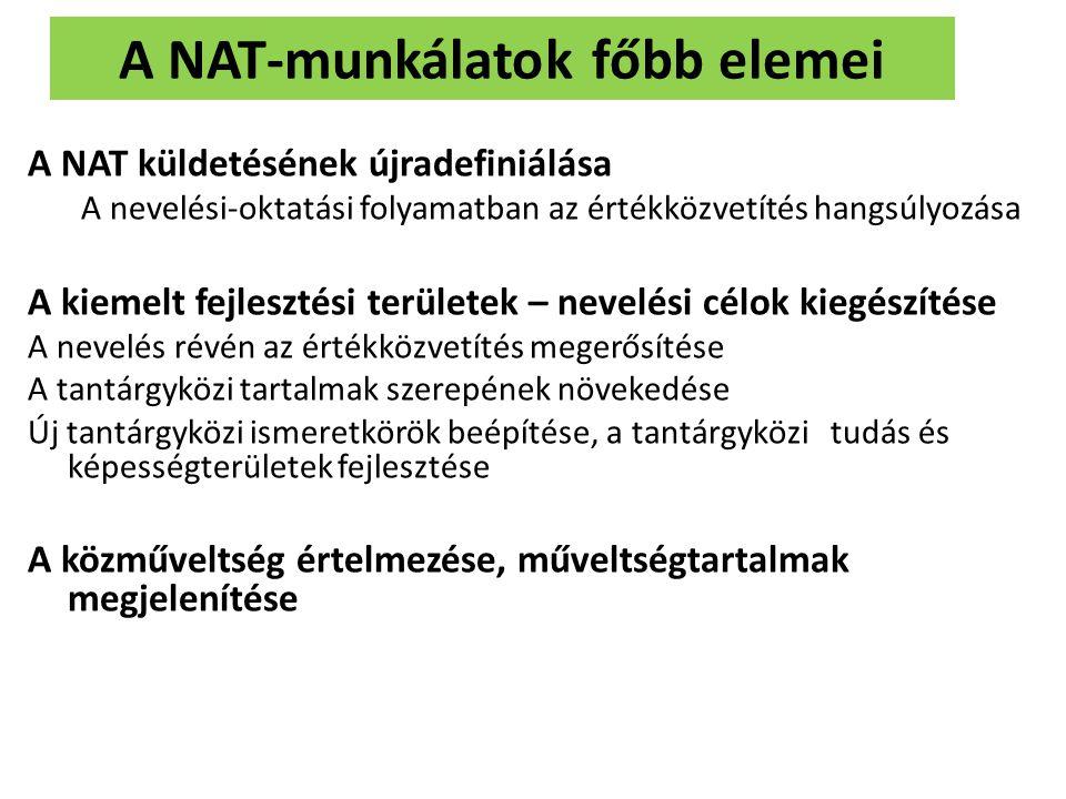 A NAT-munkálatok főbb elemei A NAT küldetésének újradefiniálása A nevelési-oktatási folyamatban az értékközvetítés hangsúlyozása A kiemelt fejlesztési