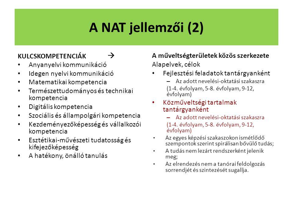 A NAT jellemzői (2) KULCSKOMPETENCIÁK  Anyanyelvi kommunikáció Idegen nyelvi kommunikáció Matematikai kompetencia Természettudományos és technikai ko