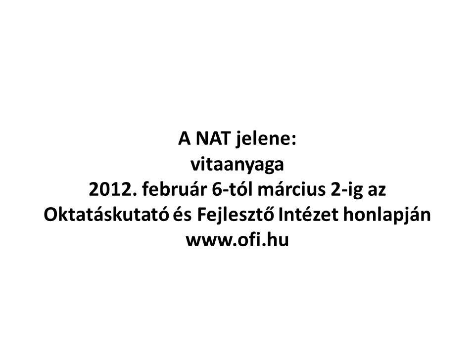A NAT jelene: vitaanyaga 2012. február 6-tól március 2-ig az Oktatáskutató és Fejlesztő Intézet honlapján www.ofi.hu