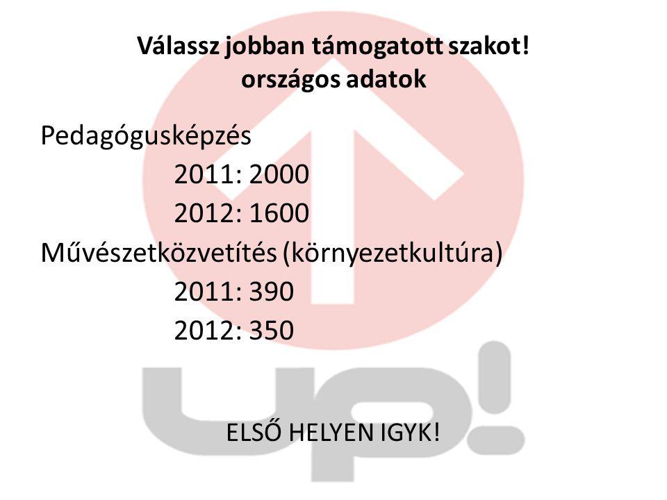Válassz jobban támogatott szakot! országos adatok Pedagógusképzés 2011: 2000 2012: 1600 Művészetközvetítés (környezetkultúra) 2011: 390 2012: 350 ELSŐ