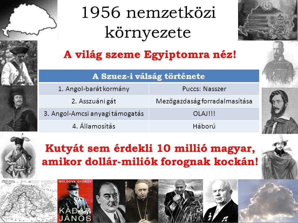 A világ szeme Egyiptomra néz! Kutyát sem érdekli 10 millió magyar, amikor dollár-miliók forognak kockán! 1956 nemzetközi környezete A Szuez-i válság t
