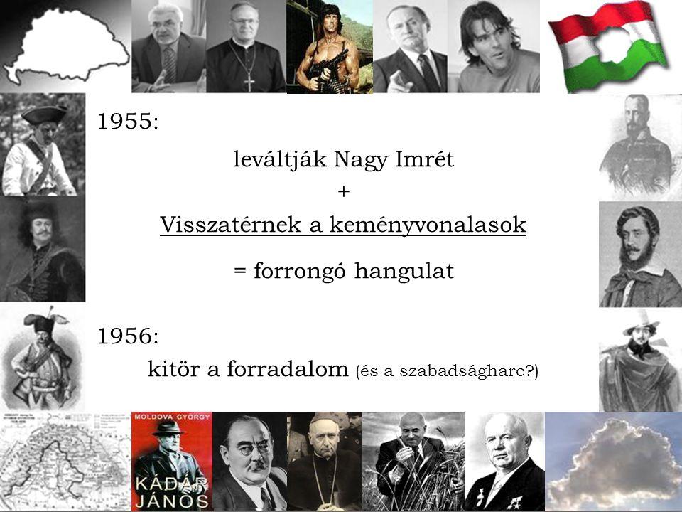 1955: leváltják Nagy Imrét + Visszatérnek a keményvonalasok = forrongó hangulat 1956: kitör a forradalom (és a szabadságharc?)