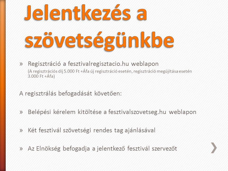 » Regisztráció a fesztivalregisztacio.hu weblapon (A regisztrációs díj 5.000 Ft +Áfa új regisztráció esetén, regisztráció megújítása esetén 3.000 Ft +Áfa) A regisztrálás befogadását követően: » Belépési kérelem kitöltése a fesztivalszovetseg.hu weblapon » Két fesztivál szövetségi rendes tag ajánlásával » Az Elnökség befogadja a jelentkező fesztivál szervezőt