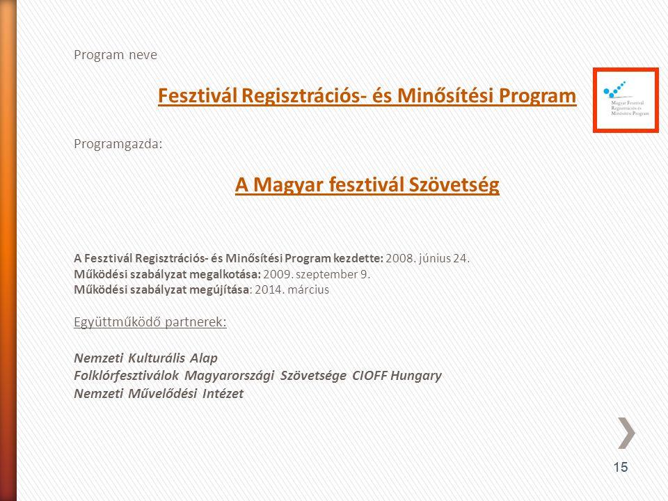 15 Program neve Fesztivál Regisztrációs- és Minősítési Program Programgazda: A Magyar fesztivál Szövetség A Fesztivál Regisztrációs- és Minősítési Pro