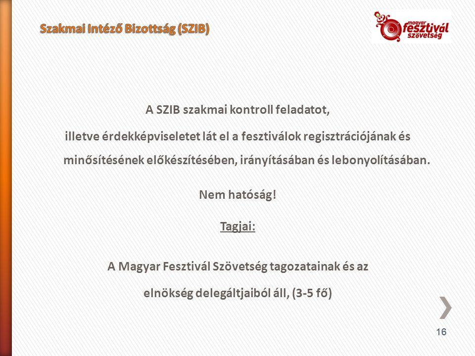 16 A SZIB szakmai kontroll feladatot, illetve érdekképviseletet lát el a fesztiválok regisztrációjának és minősítésének előkészítésében, irányításában és lebonyolításában.