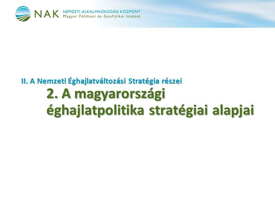 II. A Nemzeti Éghajlatváltozási Stratégia részei 2. A magyarországi éghajlatpolitika stratégiai alapjai