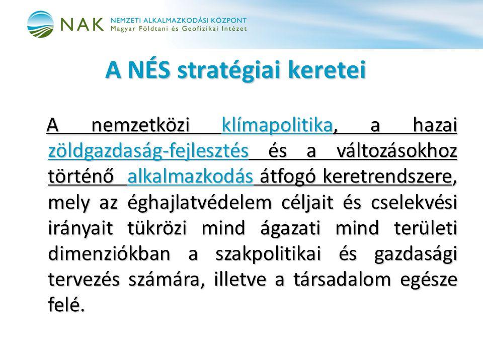 A NÉS stratégiai keretei A nemzetközi klímapolitika, a hazai zöldgazdaság-fejlesztés és a változásokhoz történő alkalmazkodás átfogó keretrendszere, m