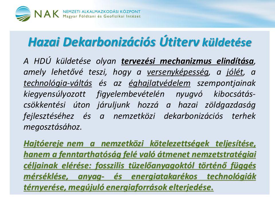 Hazai Dekarbonizációs Útiterv küldetése A HDÚ küldetése olyan tervezési mechanizmus elindítása, amely lehetővé teszi, hogy a versenyképesség, a jólét,