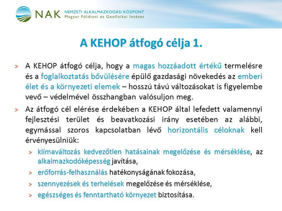 A KEHOP átfogó célja 1. > A KEHOP átfogó célja, hogy a magas hozzáadott értékű termelésre és a foglalkoztatás bővülésére épülő gazdasági növekedés az