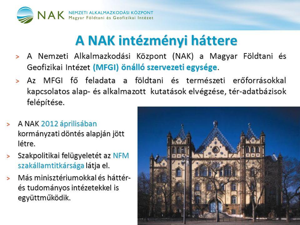 A NAK intézményi háttere > A Nemzeti Alkalmazkodási Központ (NAK) a Magyar Földtani és Geofizikai Intézet (MFGI) önálló szervezeti egysége. > Az MFGI