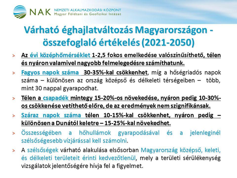 Várható éghajlatváltozás Magyarországon - összefoglaló értékelés (2021-2050) > Az évi középhőmérséklet, télen és nyáron valamivel nagyobb felmelegedés