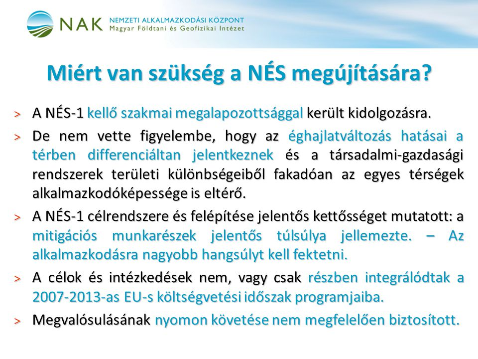 II.A Nemzeti Éghajlatváltozási Stratégia részei 2.