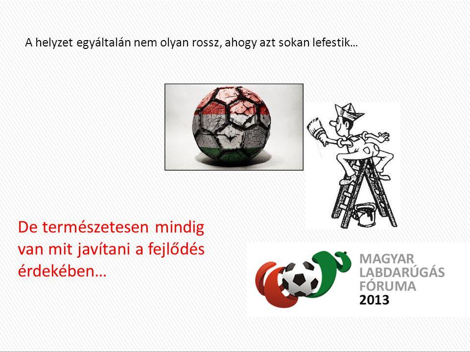 Külföldi helyzetkép : Minőségi profi futball példaadó szerepe ( játékosok, stadionok, hangulat, marketing ) 10-15 éve futó utánpótlás programok Kiváló infrastrukturális háttér Magas játékos létszám, hatalmas merítési lehetőségek ( volt gyarmatok, vendégmunkások és a világ összes országából a választás lehetősége) Külföldi helyzetkép : Minőségi profi futball példaadó szerepe ( játékosok, stadionok, hangulat, marketing ) 10-15 éve futó utánpótlás programok Kiváló infrastrukturális háttér Magas játékos létszám, hatalmas merítési lehetőségek ( volt gyarmatok, vendégmunkások és a világ összes országából a választás lehetősége) Magyarországi helyzetkép : Élvonalbeli labdarúgás színvonala, hangulata Többször félbehagyott és újrakezdett utánpótlás kiválasztási programok 5-6 éve elkezdett, optimálisabb körülmények közé helyezett utánpótlás képzési programok A sportág társadalmi megítélése miatt kevés játékos, kevés futballozni szándékozó gyerek, kicsi merítési lehetőség Magyarországi helyzetkép : Élvonalbeli labdarúgás színvonala, hangulata Többször félbehagyott és újrakezdett utánpótlás kiválasztási programok 5-6 éve elkezdett, optimálisabb körülmények közé helyezett utánpótlás képzési programok A sportág társadalmi megítélése miatt kevés játékos, kevés futballozni szándékozó gyerek, kicsi merítési lehetőség A helyzet egyáltalán nem olyan rossz, ahogy azt sokan lefestik … De természetesen mindig van mit javítani a fejlődés érdekében…
