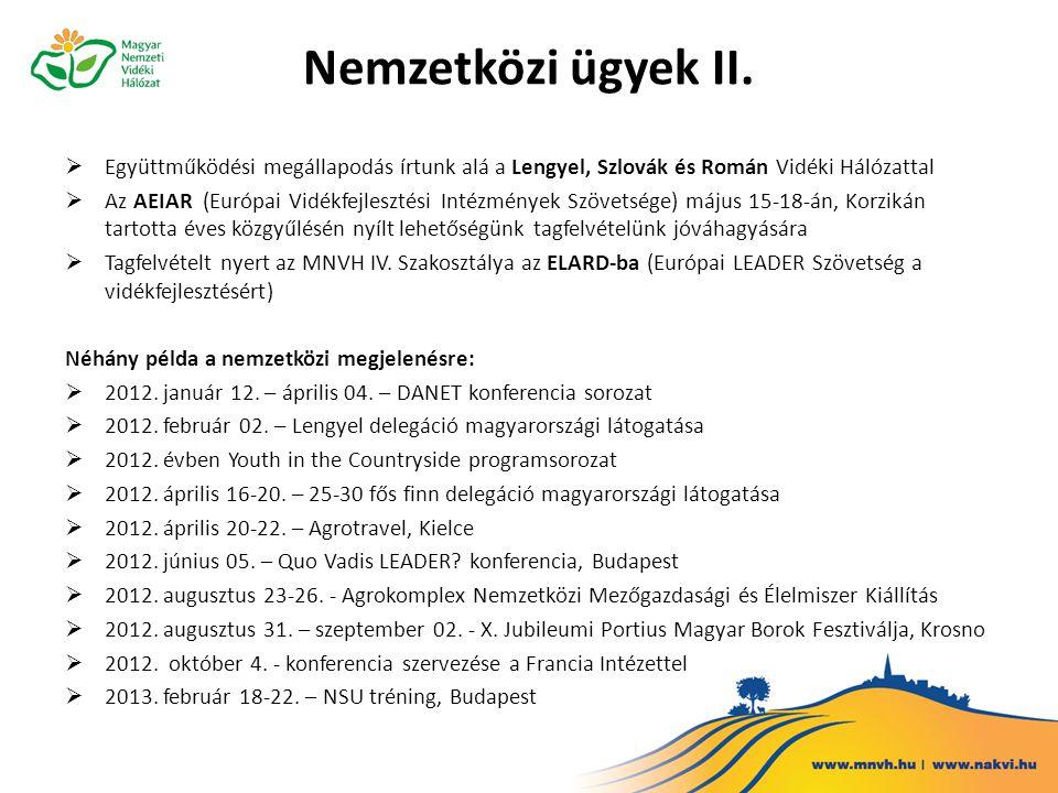 Tervek a Hálózat további fejlesztésére a következő programozási időszakban  Az Elnökség és a Tanács 2013 végéig, ill.
