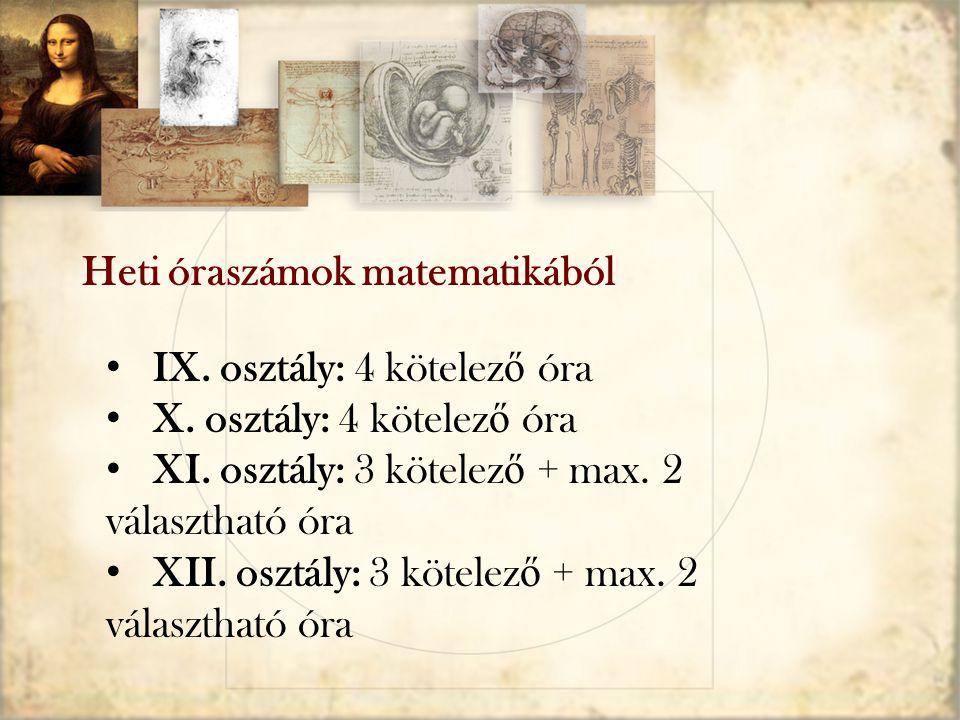 IX. osztály: 4 kötelez ő óra X. osztály: 4 kötelez ő óra XI. osztály: 3 kötelez ő + max. 2 választható óra XII. osztály: 3 kötelez ő + max. 2 választh
