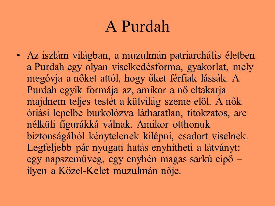 A Purdah Az iszlám világban, a muzulmán patriarchális életben a Purdah egy olyan viselkedésforma, gyakorlat, mely megóvja a nőket attól, hogy őket férfiak lássák.