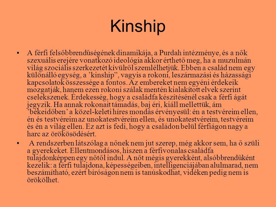 Kinship A férfi felsőbbrendűségének dinamikája, a Purdah intézménye, és a nők szexuális erejére vonatkozó ideológia akkor érthető meg, ha a muzulmán világ szociális szerkezetét kívülről szemlélhetjük.