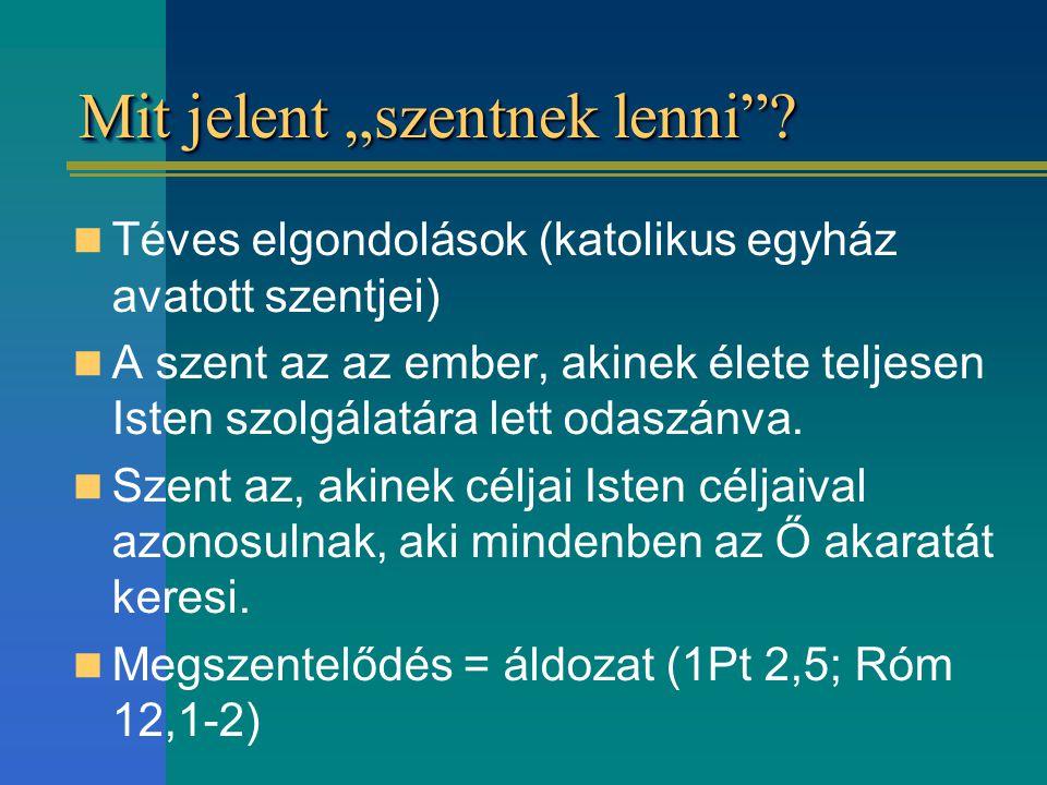 """Mit jelent """"szentnek lenni""""? Téves elgondolások (katolikus egyház avatott szentjei) A szent az az ember, akinek élete teljesen Isten szolgálatára lett"""
