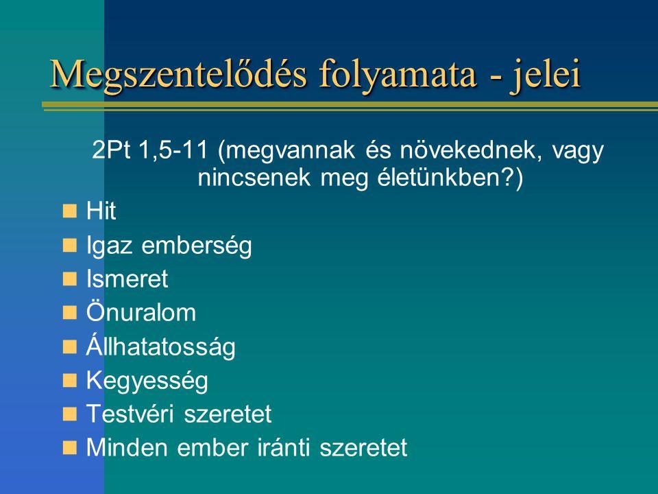 Megszentelődés folyamata - jelei 2Pt 1,5-11 (megvannak és növekednek, vagy nincsenek meg életünkben?) Hit Igaz emberség Ismeret Önuralom Állhatatosság
