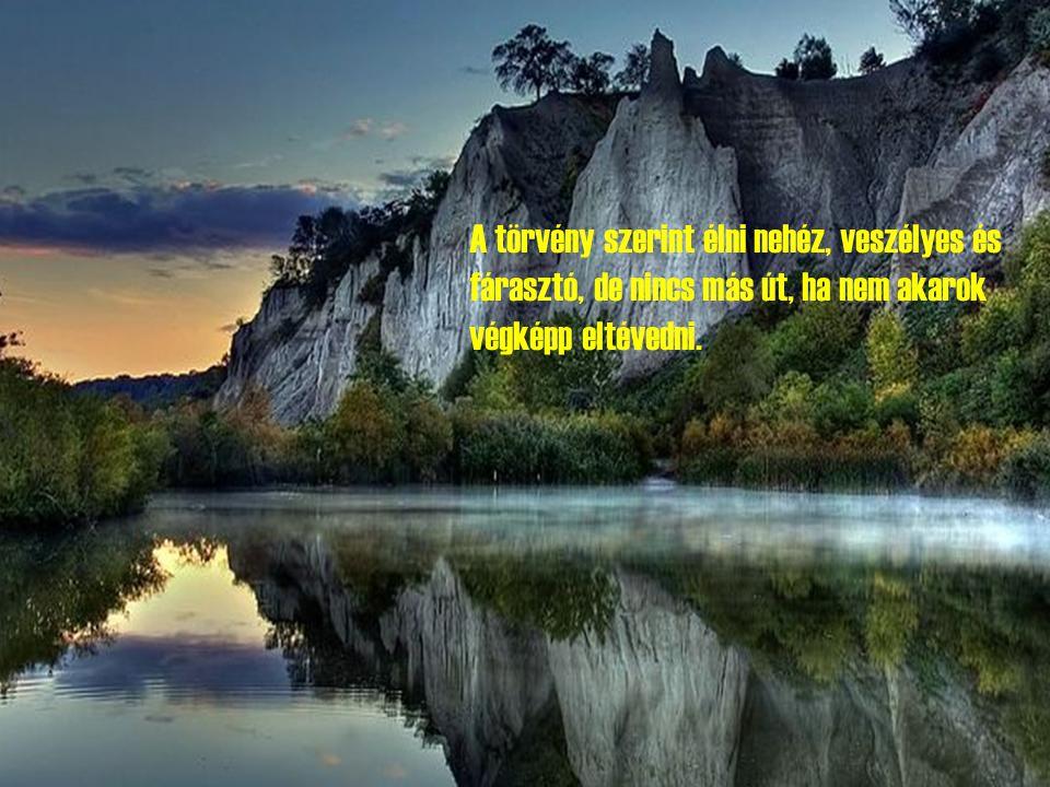 A törvény szerint élni nehéz, veszélyes és fárasztó, de nincs más út, ha nem akarok végképp eltévedni.