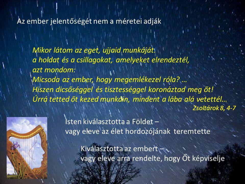 Az ember jelentőségét nem a méretei adják Mikor látom az eget, ujjaid munkáját. a holdat és a csillagokat, amelyeket elrendeztél, azt mondom: Micsoda