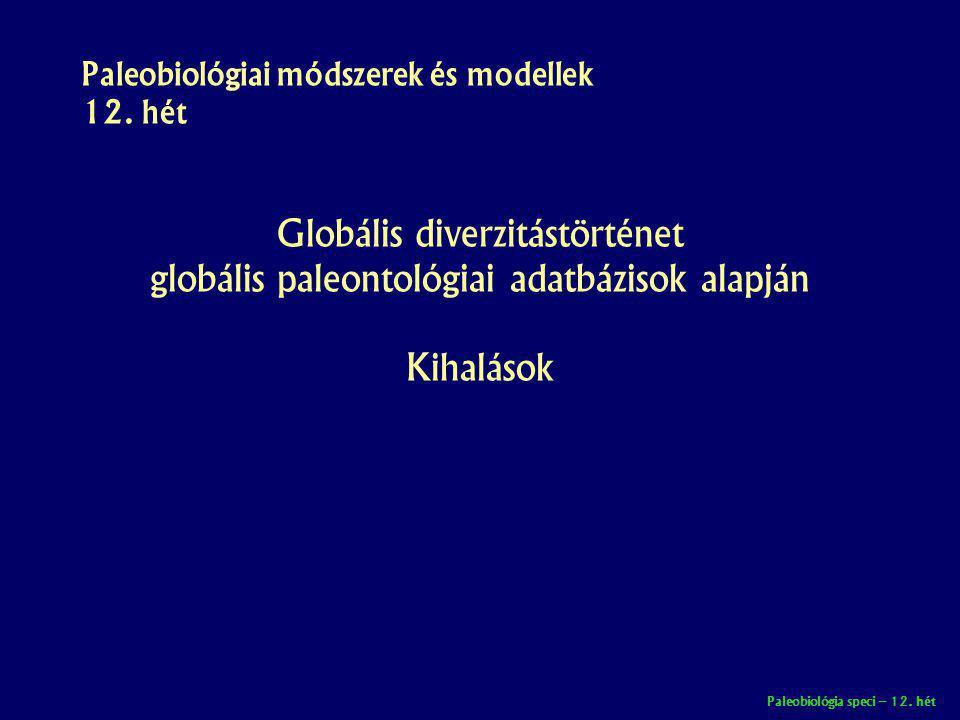Paleobiológia speci – 12. hét Paleobiológiai módszerek és modellek 12. hét Globális diverzitástörténet globális paleontológiai adatbázisok alapján Kih