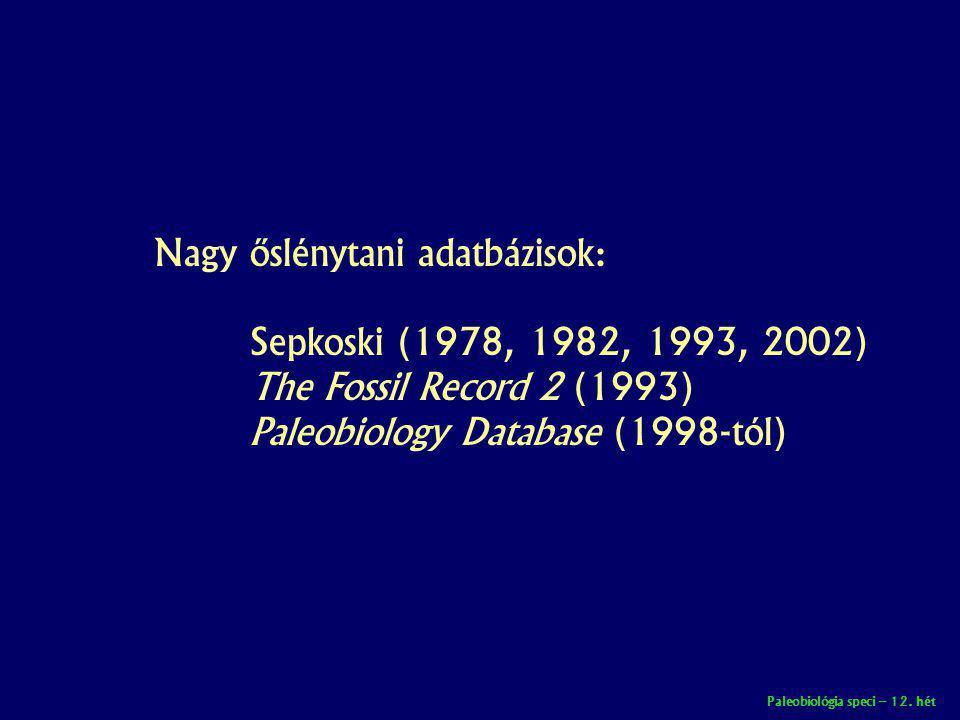 Paleobiológia speci – 12. hét Nagy őslénytani adatbázisok: Sepkoski (1978, 1982, 1993, 2002) The Fossil Record 2 (1993) Paleobiology Database (1998-tó