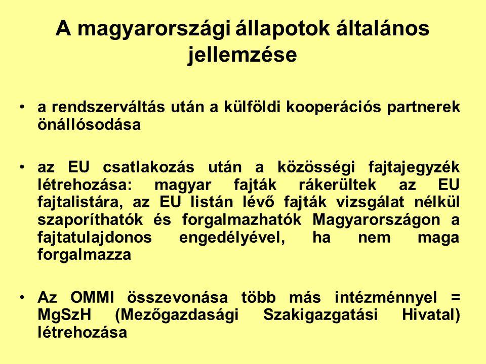 A magyarországi állapotok általános jellemzése a rendszerváltás után a külföldi kooperációs partnerek önállósodása az EU csatlakozás után a közösségi
