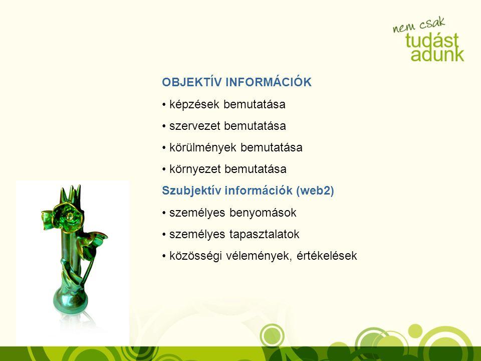 OBJEKTÍV INFORMÁCIÓK képzések bemutatása szervezet bemutatása körülmények bemutatása környezet bemutatása Szubjektív információk (web2) személyes beny