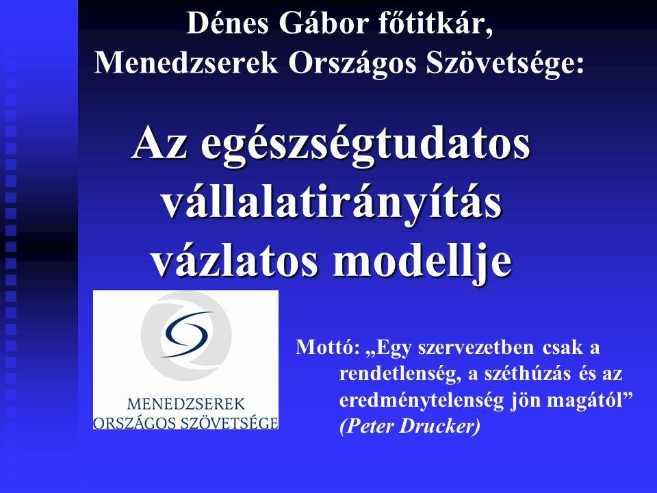 """Dénes Gábor főtitkár, Menedzserek Országos Szövetsége: Az egészségtudatos vállalatirányítás vázlatos modellje Mottó: """"Egy szervezetben csak a rendetlenség, a széthúzás és az eredménytelenség jön magától (Peter Drucker)"""