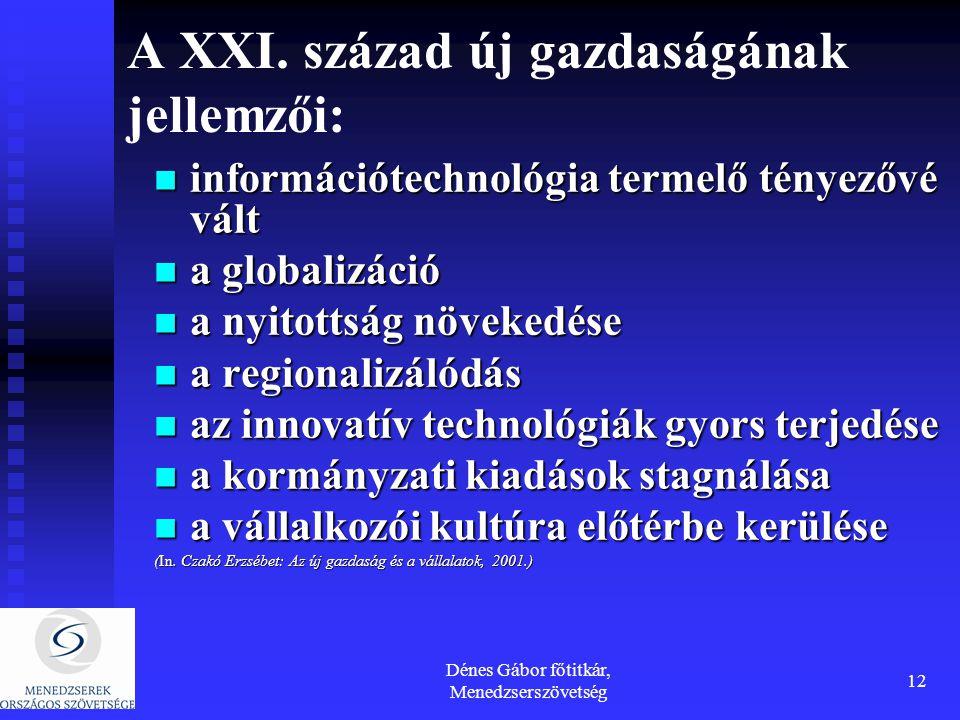 Dénes Gábor főtitkár, Menedzserszövetség 12 A XXI. század új gazdaságának jellemzői: információtechnológia termelő tényezővé vált információtechnológi
