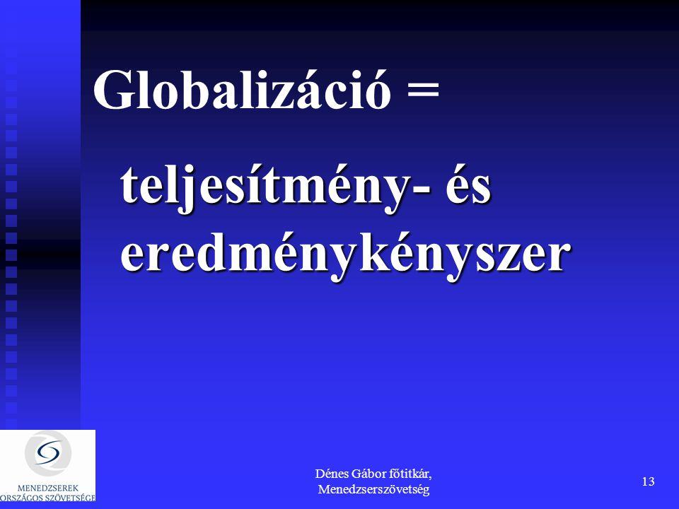 Dénes Gábor főtitkár, Menedzserszövetség 13 Globalizáció = teljesítmény- és eredménykényszer