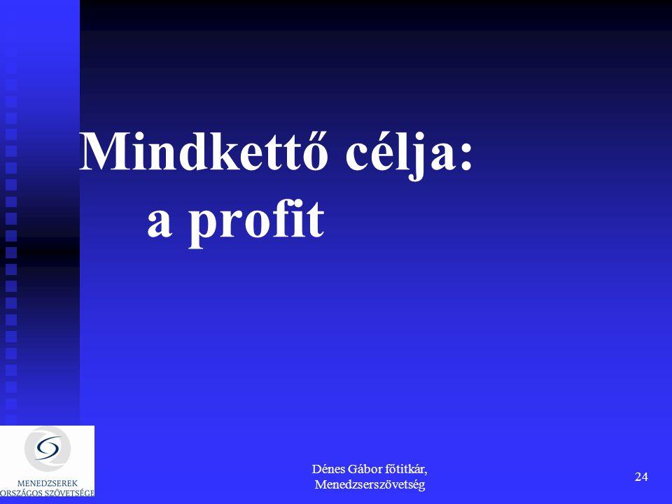 Dénes Gábor főtitkár, Menedzserszövetség 24 Mindkettő célja: a profit