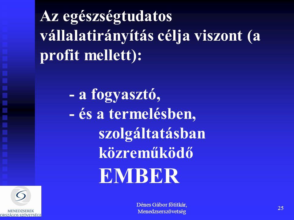 Dénes Gábor főtitkár, Menedzserszövetség 25 Az egészségtudatos vállalatirányítás célja viszont (a profit mellett): - a fogyasztó, - és a termelésben, szolgáltatásban közreműködő EMBER