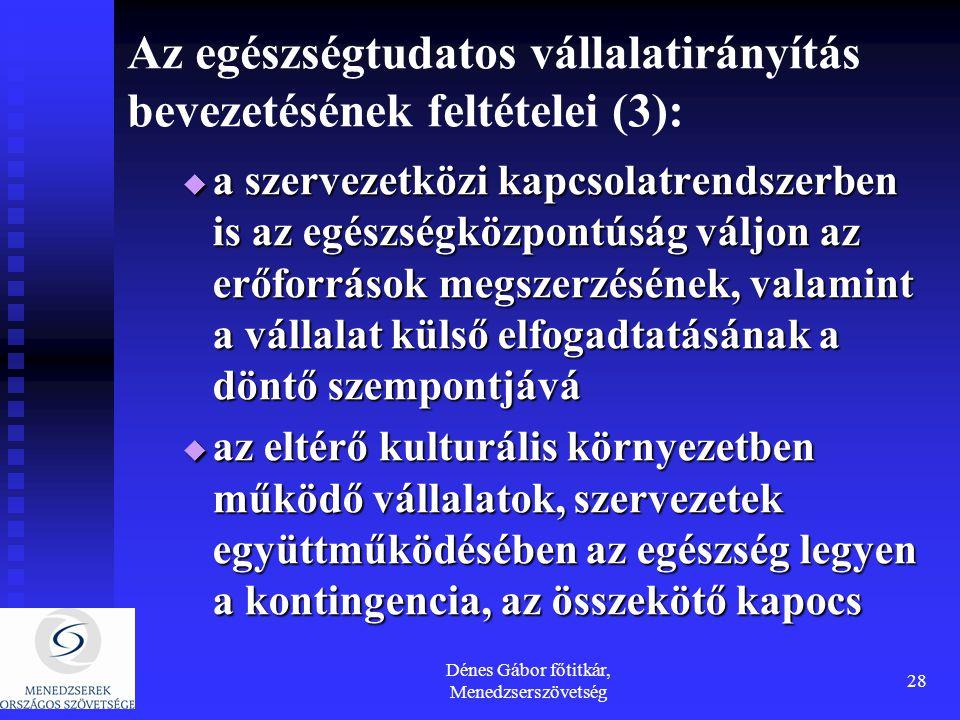 Dénes Gábor főtitkár, Menedzserszövetség 28 Az egészségtudatos vállalatirányítás bevezetésének feltételei (3):  a szervezetközi kapcsolatrendszerben