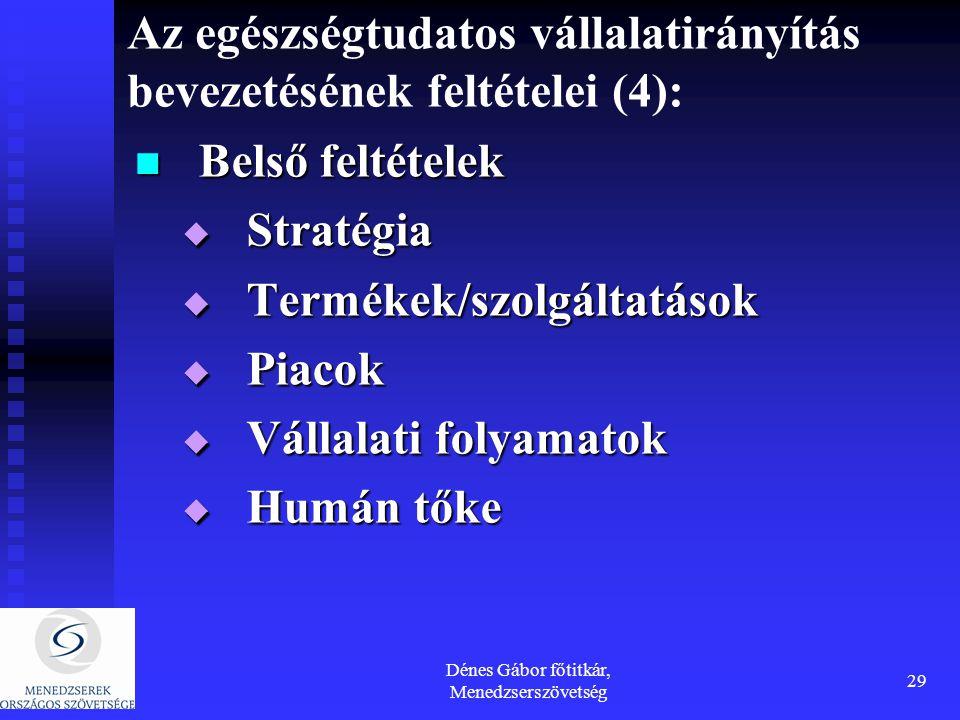 Dénes Gábor főtitkár, Menedzserszövetség 29 Az egészségtudatos vállalatirányítás bevezetésének feltételei (4): Belső feltételek Belső feltételek  Stratégia  Termékek/szolgáltatások  Piacok  Vállalati folyamatok  Humán tőke