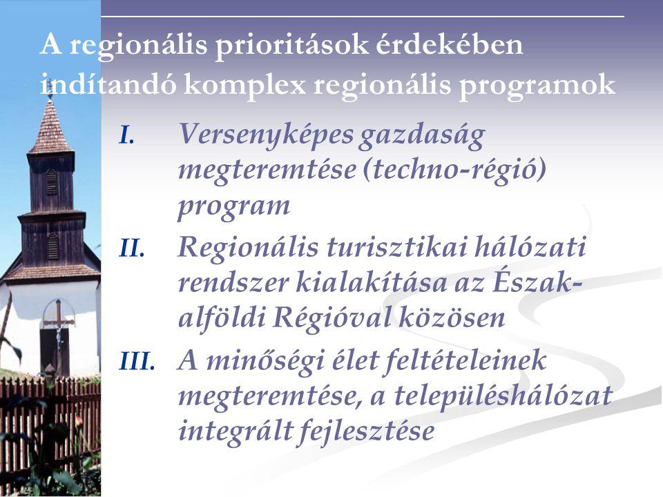 A regionális prioritások érdekében indítandó komplex regionális programok I.