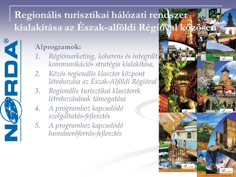 Regionális turisztikai hálózati rendszer kialakítása az Észak-alföldi Régióval közösen Alprogramok: 1.Régiómarketing, koherens és integrált kommunikációs stratégia kialakítása, 2.Közös regionális klaszter központ létrehozása az Észak-Alföldi Régióval 3.Regionális turisztikai klaszterek létrehozásának támogatása 4.A programhoz kapcsolódó szolgáltatás-fejlesztés 5.A programhoz kapcsolódó humánerőforrás-fejlesztés