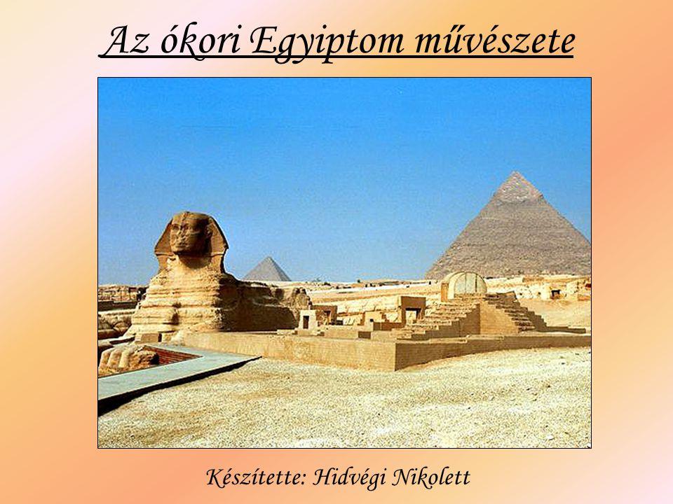 Építészet A legjelentősebb építmények a templomok és sírépítmények (masztaba, piramis).